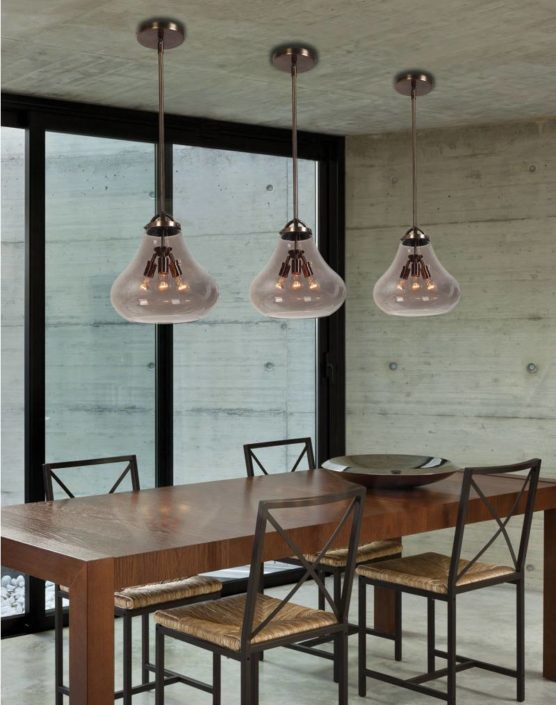 Ceiling lights above dining room table