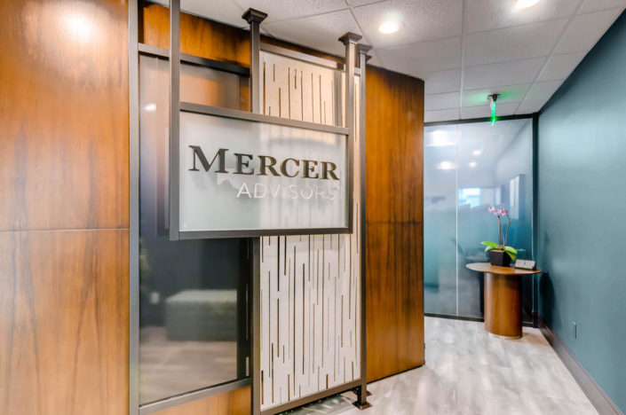 mercer advisors boulder entrance sign interior design