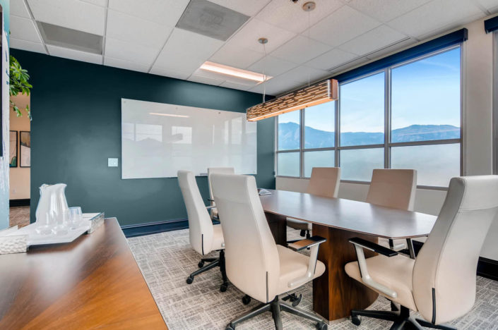 Wood Conference table with boulder interior design