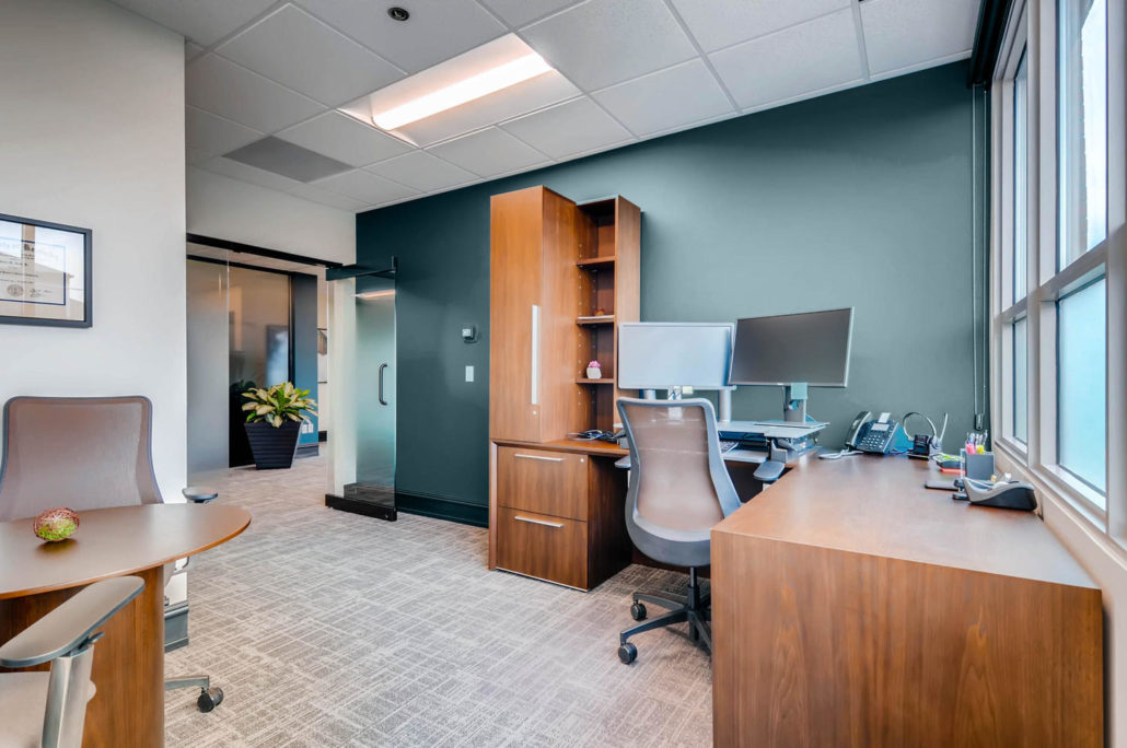 L shaped desk with chair in Boulder Office Interior Design