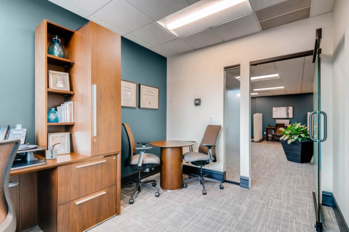 Personal Office in boulder with meeting desk and glass door