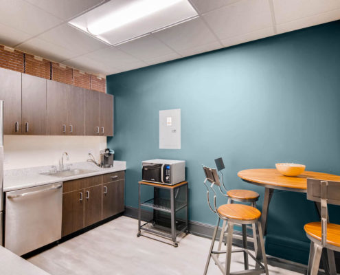 Boulder Office kitchen with round table and chairs