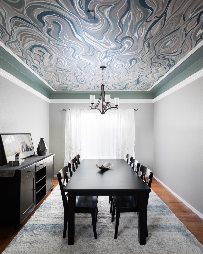 ceiling wallpaper with beautiful wood dining table in remodeled dining room