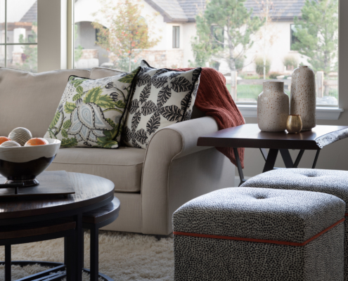 elegant sofa with ottomans, coffe table, side table and beautiful decor, Lafayette Colorado